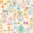 Birds and cages vintage pattern - Stockvectorbeeld