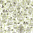 Stok Vektör: Birds and cages vintage pattern