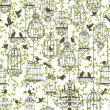 Royalty-Free Stock Vectorielle: Birds and cages vintage pattern