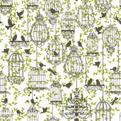 Birds and cages vintage pattern — Stock Vector