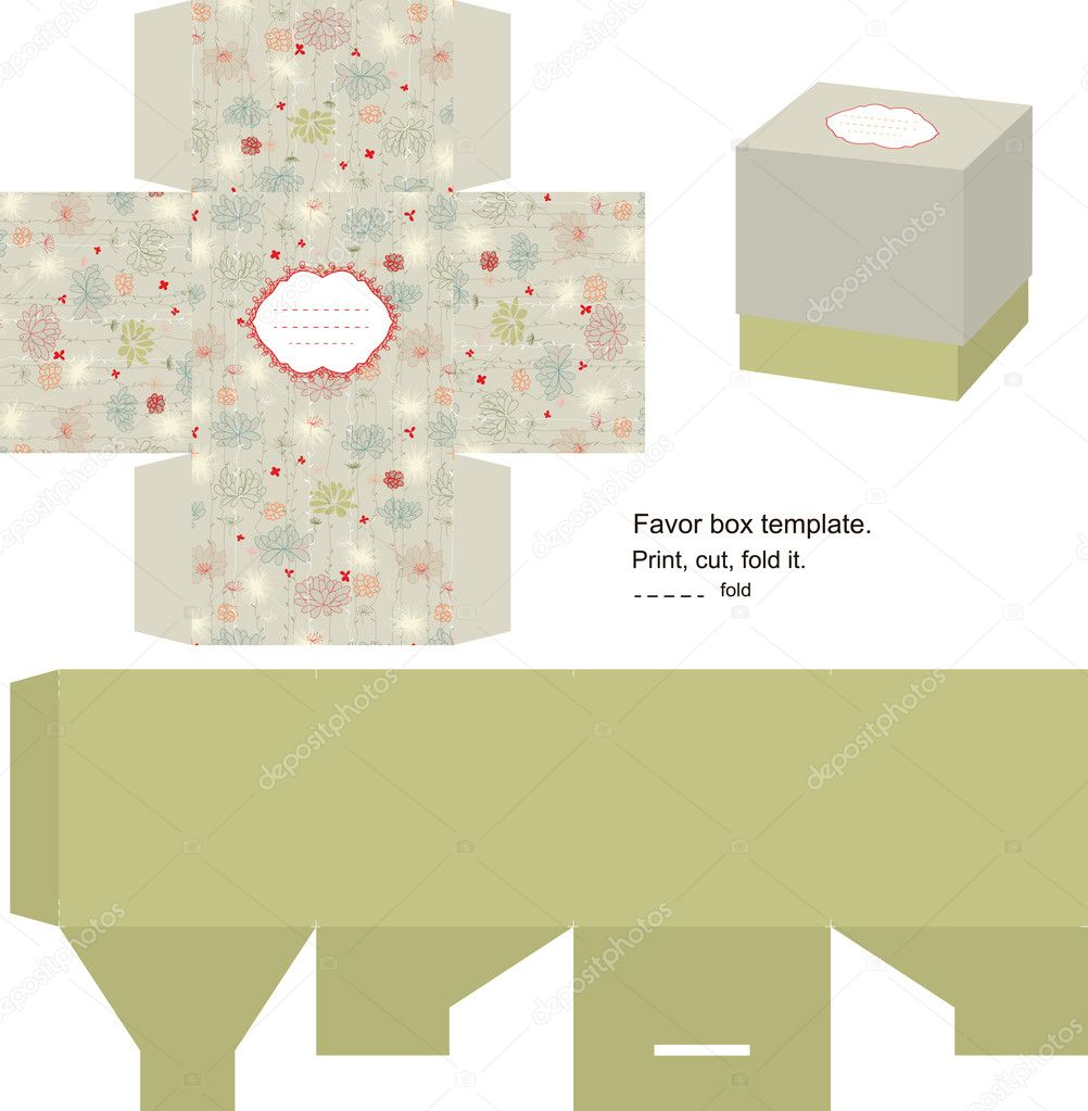 Favor box die cut. Floral pattern. Empty label.   Stock Vector #7364413