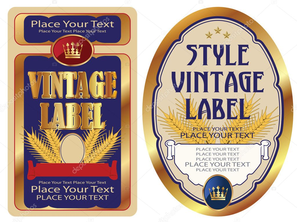 Gold-framed labels on different topics for decoration and design  Vettoriali Stock  #7243330