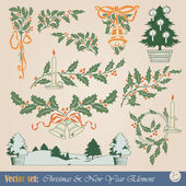 Vector design elements - Happy Christmas And New-Year's — Stock Vector