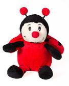 Ladybug smiling sitting over white background. Plush toy isolate — 图库照片