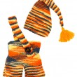 Set of kids knitted clothes: colorful baby's hat and pants. Over — Stock Photo