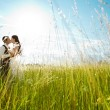 Kissing bride and groom in sunny grass — Stock Photo #7197779