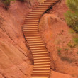 Stock Photo: Staircase in park inside ochre quarry, Roussillion, France