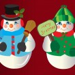 Stock Vector: Snowman Christmas Ornaments