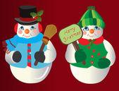 Snowman Christmas Ornaments — Stock Vector