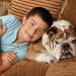 Bulldog and Boy - Stock Photo