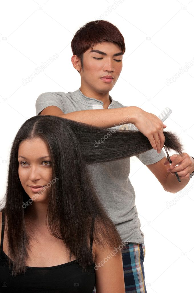Young woman having a haircut — Stock Photo #7935063
