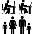 Stock Vector: At work, family - vector pictograms.