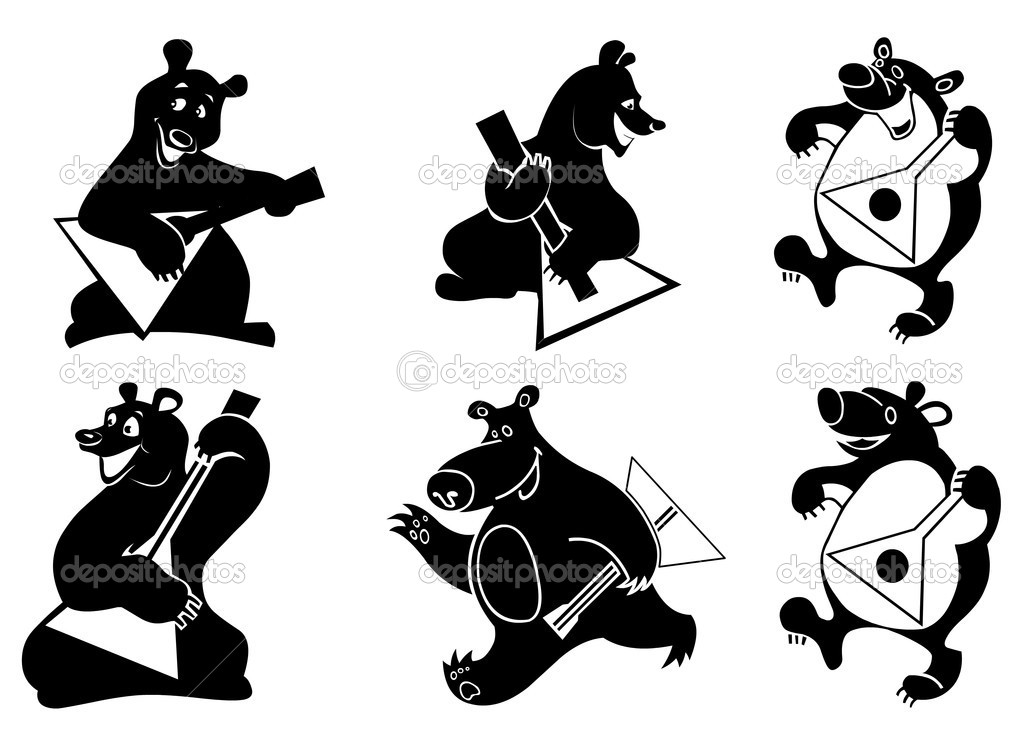 Vector illustration of funny silhouettes of bears with balalaika. — Stock Vector #6818475