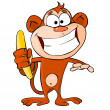 Royalty-Free Stock Vector Image: Funny monkey with banana