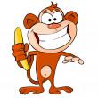 Funny monkey with banana — Stock Vector