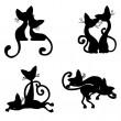 couples de silhouettes de chats — Vecteur