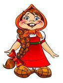 Petite fille en costume russe native — Photo
