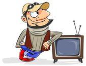 站在一个复古的电视旁边的男人 — 图库照片