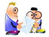 Two funny businessmen and envelope — Stock Photo