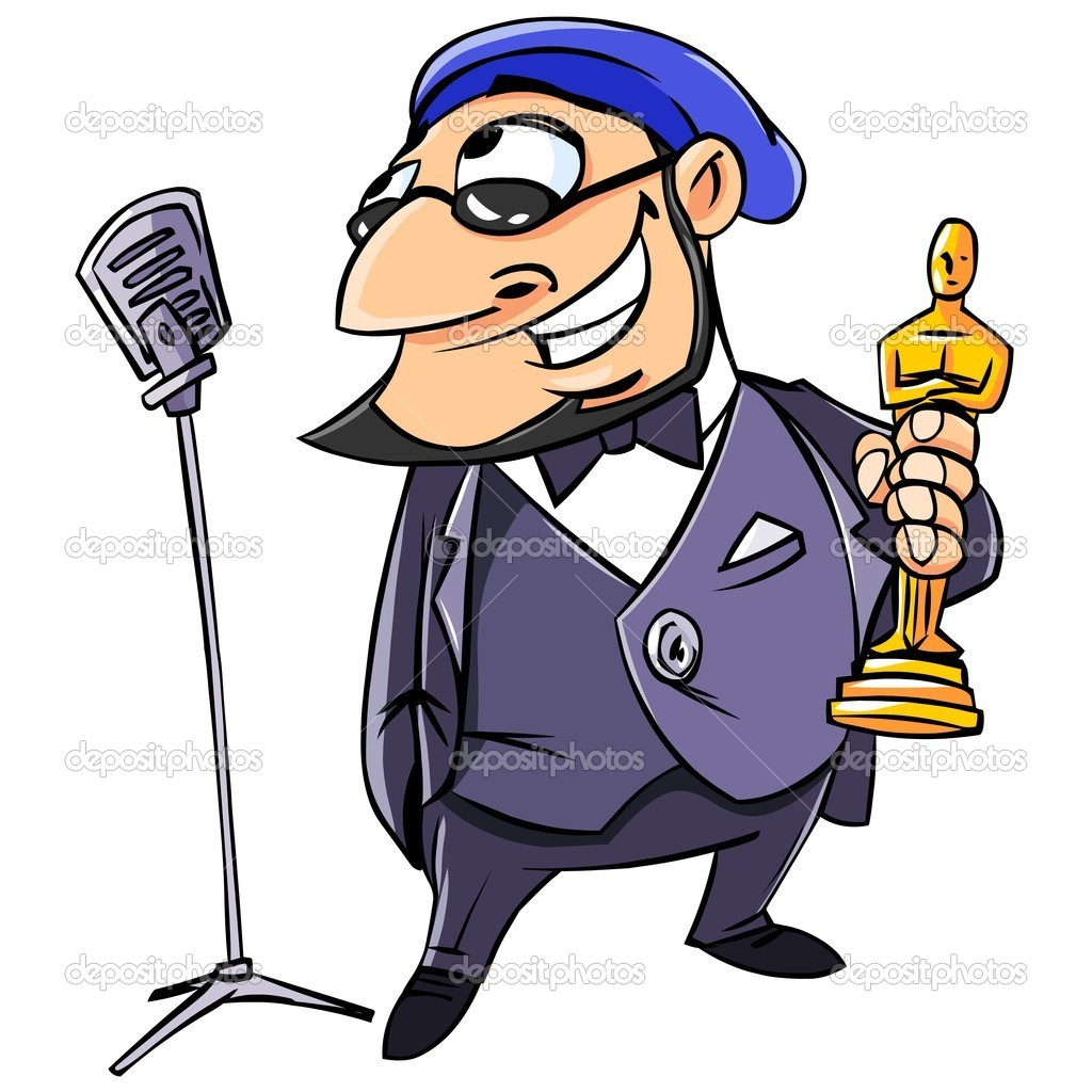 Vector illustration. The director said it into the microphone at the awards ceremony Oscar. Isolated on white. — Stock Vector #7719911