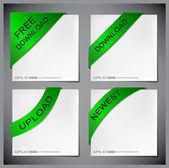 Vector green corner ribbon — Stock Vector