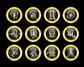 Set of zodiac buttons — Stock Vector