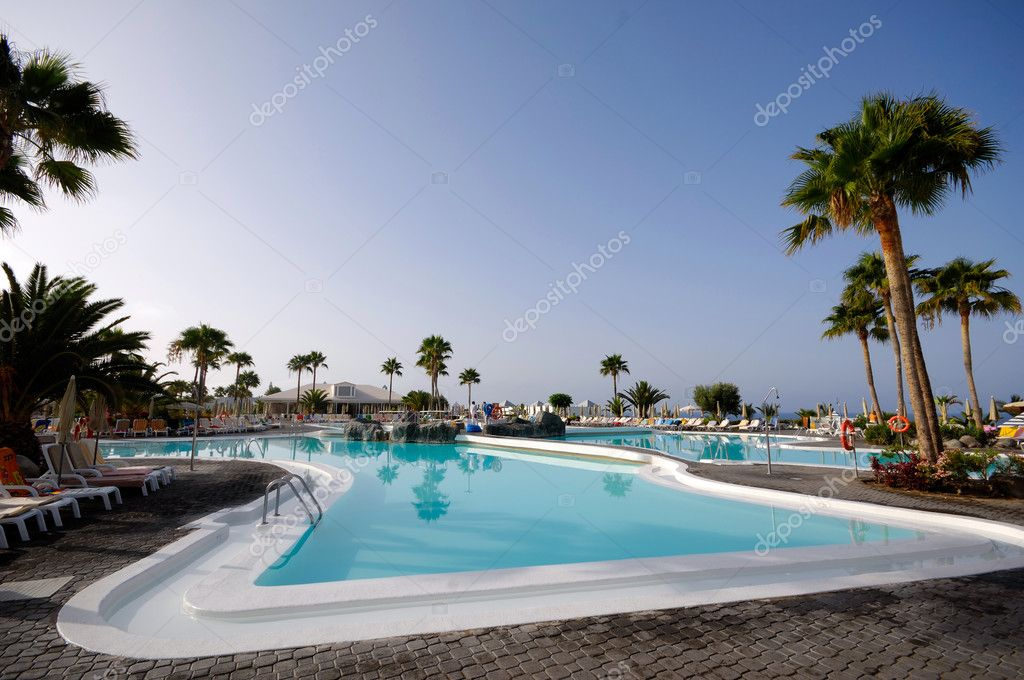 Nice inviting pool with palms and a clear blue sky. — Stock Photo #6933803