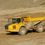 Постер, плакат: Yellow mining dump truck