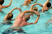Aerobic in pool — Stock Photo