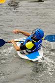 Man playing kayak polo — Stock Photo