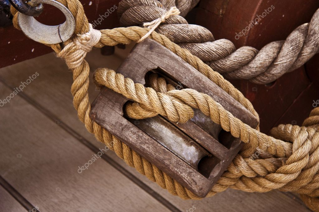 Rope and pulley on an old sail boat  Stock Photo #6798680