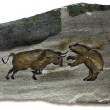 Bull and Bear Markets Cave Painting - Stock Photo