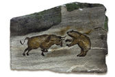 Bull and Bear Markets Cave Painting — Stock Photo