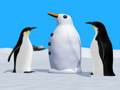 Building a snow penguin — Stock Photo