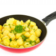 Red frying pan new potatoes — Stock Photo