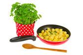 Baking new potatoes with parsley — Stock Photo