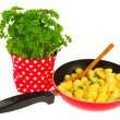 Baking new potatoes with parsley — Stock Photo