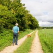 Elderly man is walking the dog — Stock Photo #6955009
