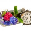 Romantic suitcase with clock — Stock Photo