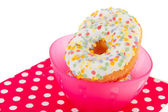 Pink bowl confetti donuts — Stock Photo