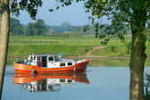 Recreation boat in Dutch water — Stock Photo