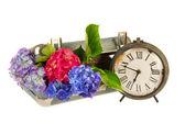 Romantic suitcase with clock — Stock Photo