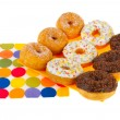 Stock Photo: Sugary donuts with colorful glaze