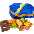 Sinterklaas candy and black Piet hat — Stock Photo