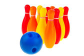 Bowling balls and pins — Stockfoto