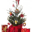 Christmas tree in red and gold — Stock Photo