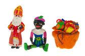 Sinterklaas and black Piet from clay — Stock Photo