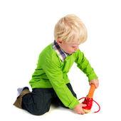 Niño holandés con el zapato — Foto de Stock