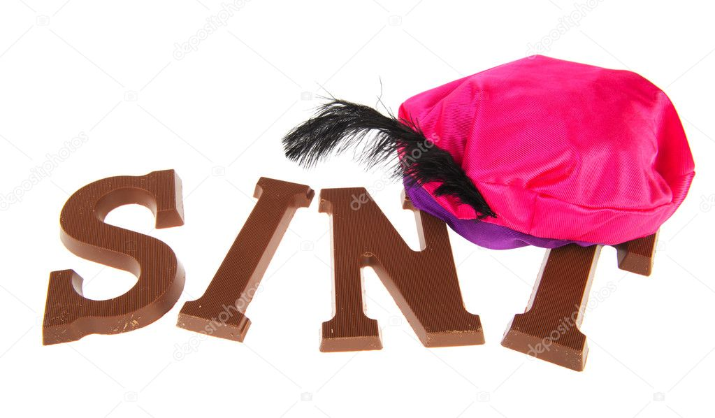 Sinterklaas chocolate letters isolated over white background — Stock Photo #7626055