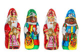 Chocolate Sinterklaas and Zwarte Piet — Stock Photo